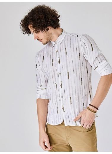 Xint %100 Keten Çizgili Uzun Kollu Gömlek Haki